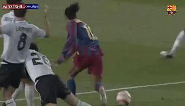 فیلم حرکات یکسان مسی و رونالدینیو در بارسلونا